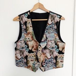 Vintage needlepoint embroidered cat vest w buttons
